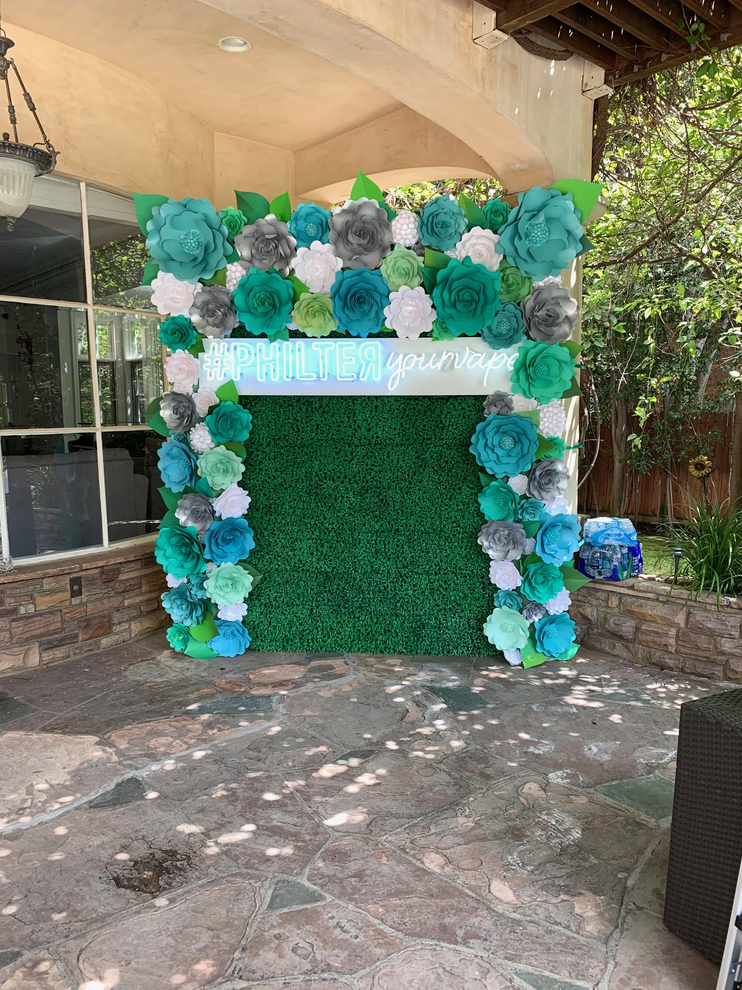 Green Hedge Wall With Paper Flowers Backdrop 65 Click On