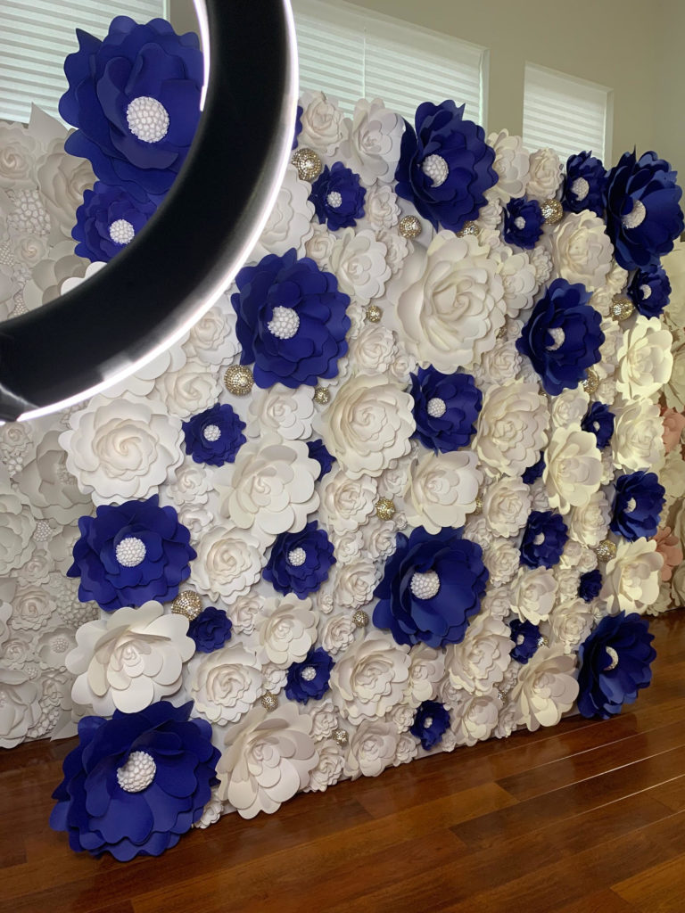navy blue and white paper flower wall  backdrop  72 click